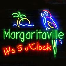 "It's 5 O'clock Margaritaville Parrot Palm Tree Neon Light Sign 24""x20"" Lamp Bar"