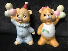 Vintage Ceramic Birthday Bears Ballons Salt and Pepper Shakers