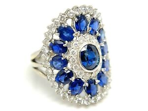 Blue Sapphire & Diamond Cocktail Ring