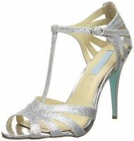 Betsey Johnson Womens TEE Open Toe T-Strap Classic Pumps, Silver, Size  iEaE