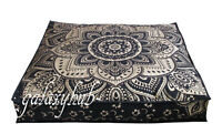 "35"" Large Floor Decorative Pillow Cushion Cover Black Gold Mandala Room Decor"