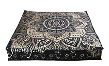"35"" Large Floor Decorative Pillow Cushion Cover Black Gold Mandala Room Decor"