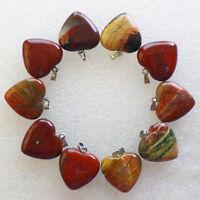 10Pcs Beautiful Red Jasper Heart Pendant Bead (Send Randomly) N7417