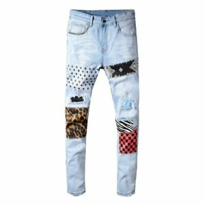 Men's Stars Printed Leopard Patchwork Slim Jeans Denim Pants Fashion Trousers