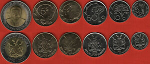 Namibia set of 6 coins: 5 cents - 10 dollars 2010-2012 UNC