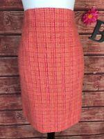 J Crew Skirt size 6 No. 2 Pencil Orange Pink Tweed Knee Career Wedding Church