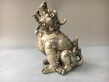 9''tibetan bronze silver carved beast animal Dragon kylin unicorn incense burner