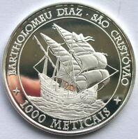 Mozambique 2004 Sao Cristovao 1000 Meticais Silver Coin,Proof