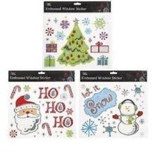 CHRISTMAS WINDOW STICKERS XMAS PARTY DECORATION SET OF 3 EMBOSSED FREEPOST!