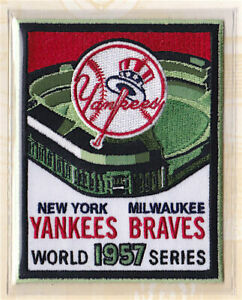 1957 WORLD SERIES PATCH ONLY Willabee & Ward MILWAUKEE BRAVES / NEW YORK YANKEES