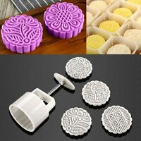 Round Mooncake Pastry Mold 125g Moon Cake Baking Mould 4pcs Stamps DIY Tool US