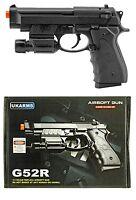 """8.5"""" Black Airsoft Pistol Hand Gun w/Rail Mounted Laser  w/ BBs 175 FPS G52R 1:1"""