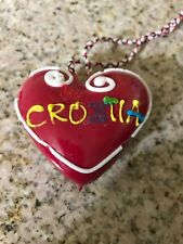 Rare Love Croatia Licitar Red Heart Cookie Ornament Pendent