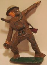 Old Lead Manoil Military Army Soldier Throwing Grenade w/ Gas Mask Cast Helmet