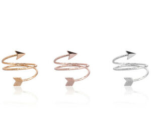 Anello Delle Dita Falange Frecce 3Farben Oro Rosa/Oro Giallo/Argento