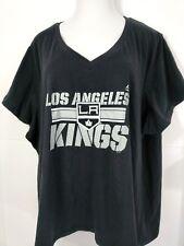 Majestic Los Angeles Kings T-Shirt NHL Women Sz 4X Black Short Sleeve V-Neck New