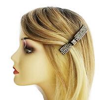 Diamante Barrette Spring Hair clip pewter colour clear crystals bow design