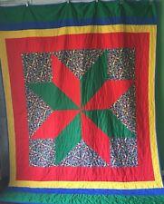 Crayola Crayon Starburst Quilt Blanket Bedspread Coverlet Handmade 84 x 66 OOAK