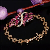 Purple Leaf Gold Plated Charm Women Rhinestone Crystal Bangle Bracelet Jewelry