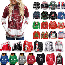 Women Xmas Sweatshirt Sweater Christmas Long Sleeve Party Tops Pullover Sweats