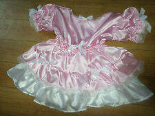 "ADULT BABY SISSY PINK SATIN DRESS 52"" PRETTY FRILLY LACE TRIM  WHITE DOUBLE HEM"