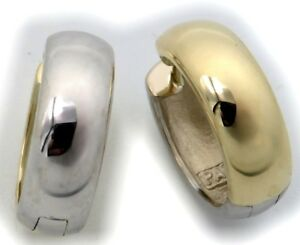 Men's Earrings Drop Hoop Gold 750 Bicolour Yellow White Domed 16 MM 18 Carat