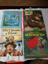 4 books, Napping house,wheres teddy, became a pirate, little mouse straw & bear