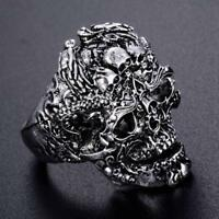 Men's Vintage Skull Finger Rings Stainless Steel Silver Cool Gothic Punk Jewelry