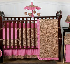 Pink and Brown Cheetah Print Baby Crib Bedding Set for Newborn Girl Sweet Jojo