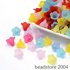 100pcs Mixed Color Lucite Lily Trumpet Flower Frosted Acrylic Beads 15x10mm