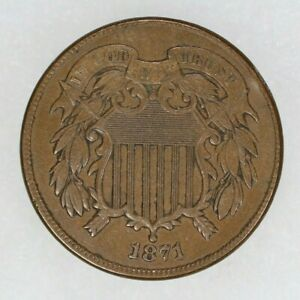 1871 TWO CENT PIECE 2C XF / AU EXTRA FINE ABOUT UNCIRCULATED (9623)