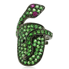 Gemstone 925 Silver Wrap Snake Handmade Nail Ring Fashion Jewelry