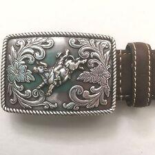 Nocona Leather Belt with Buckle Bucking Bull Rider sz 26 Western Leather & Man M