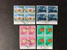 MNH Zambia 1965 VFU CTO Imprint marginal blocks 4 set vf SG 112-115