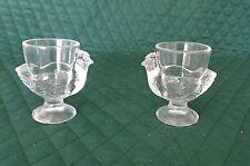 2 Vintage Glass Egg Cups /Chicken Shape / Marked France