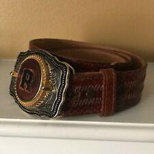 Tony Lama Genuine Boa Belt Mens 36-Big Buckle Cowboy Style-Pre-Owned Nice!