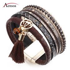 Vintage Women Multilayer Leather Resin Tassel Beads Wrap Cuff Bracelet Jewelry