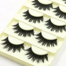 5 Pairs/lot  Long Black Cross False Eyelashes Makeup Fake Thick Eye Lashes