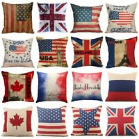 Home Decor Flag Print Square Cotton Linen Sofa Cushion Cover  Throw Pillow 18""