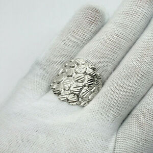 Solid 18K White Gold Mens Nugget Ring Large Diamond Cut XXL Heavy, Size 5 - 15