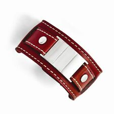 and Brushed Engravable Buckle Bracelet Chisel Stainless Steel Red Leather