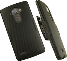 NEW BLACK RIBBED HARD CASE COVER + BELT CLIP HOLSTER STAND FOR LG G4 PHONE