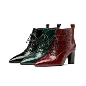 Women's Ankle Boots Pumps Pointy Toe Patent Leather Comfort Shoes 40 42 41 43 L