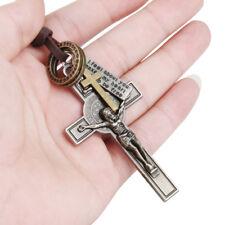 Ladies / Men's Metal Cross Chain Crucifix Jesus Leather Choker Necklace Pendant