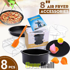 8Pcs 8'' Air Fryer Accessories Set Pizza Pan Chips Baking For Philips 4.2~5.8QT