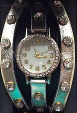Figaro Couture Gold Rhinestone Multi Strappy Shell Face Fashion Watch NEW NIB