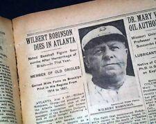 "WILBERT ROBINSON ""Uncle Robbie"" Baseball Catcher & Manager DEATH 1934 Newspaper"