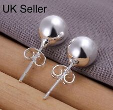 925 Silver Plt 8mm Solid Pearl Ball Stud Earrings Round Bead Ladies Gift a