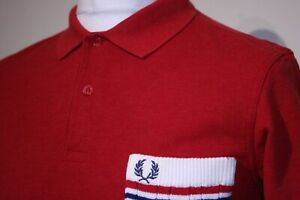 Fred Perry Cable Knitted Pocket Polo Shirt - M - Red Marl - Excellent - Mod Top