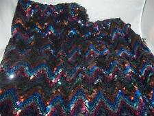 "Multicolor Chevron Sequin fabric on black  35"" x 44"" Vintage Very Good Condition"